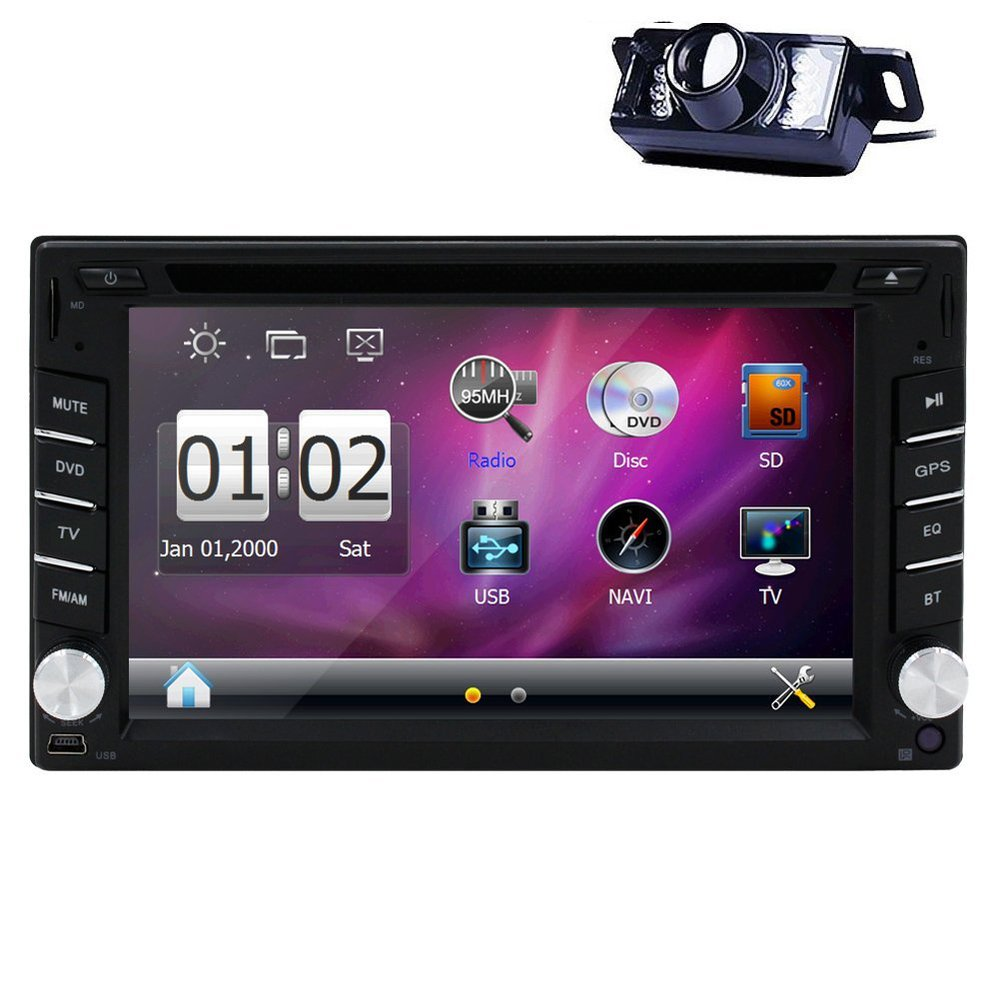 Car Radio Stereo GPS Navigation 6.2 Inch 2 din Car DVD Video CD Player Bluetooth Modem HD Touch Screen Car PC with Back Camera(China (Mainland))