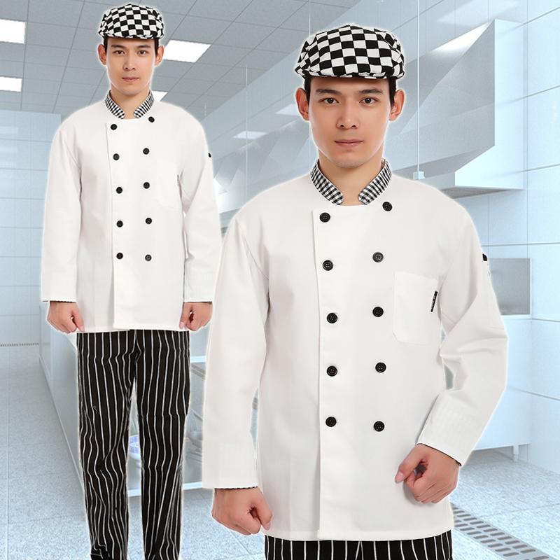 Koop 10 sets cap top broek kok pak na de chefs uniform koken pak afdrukken - Keuken volledige verkoop ...
