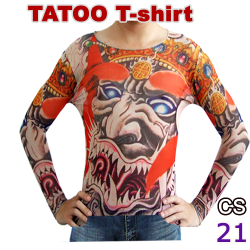 New long sleeve fake tattoo t shirt mix designs temporary for Wholesale temporary tattoos