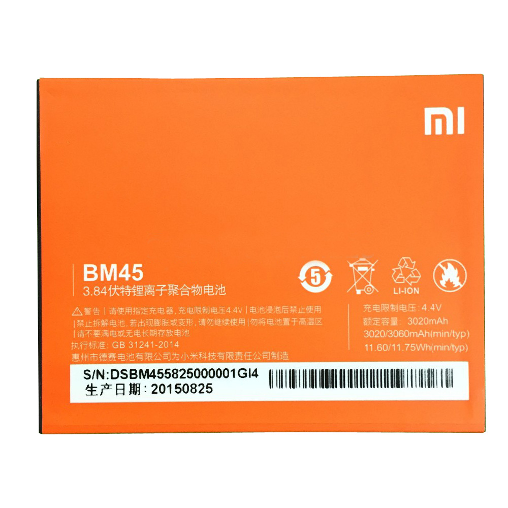 100% Original Backup 3020mAh Battery For Xiaomi Redmi Note 2 Smart Mobile Phone + + Tracking Number