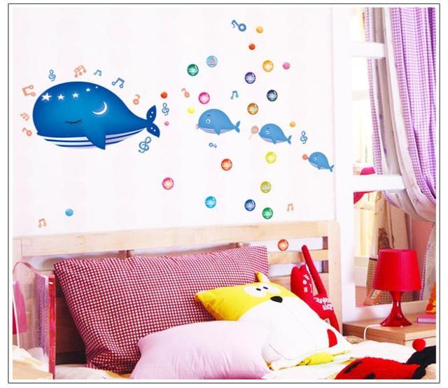 Diy мультфильм дельфин пвх съемные стикеры стены украшения дома картины ванной наклейки на стены для детей номеров 7018