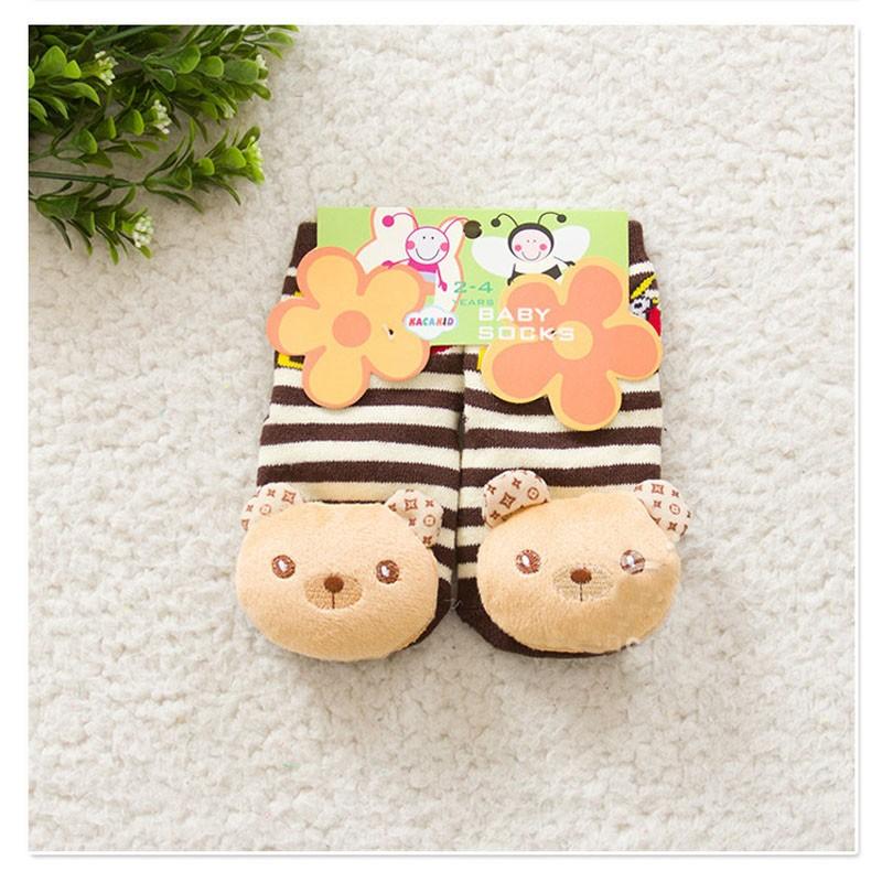 Детские противоскользящие новорожденных 2 - 4 лет хлопка прекрасный милый носки 3D животных мультфильм мальчик девочки унисекс противоскольжения резиновая подошва носки толстые