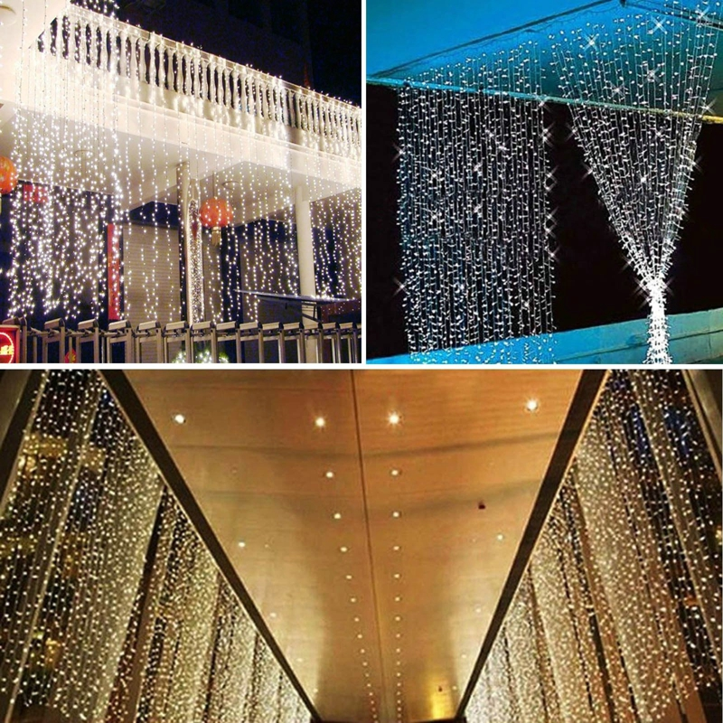 6Mx3M 600 LED Outdoor Christmas String Wedding Party Fairy twinkle Curtain lights Colorful Warm White Cool - E-top Mall store