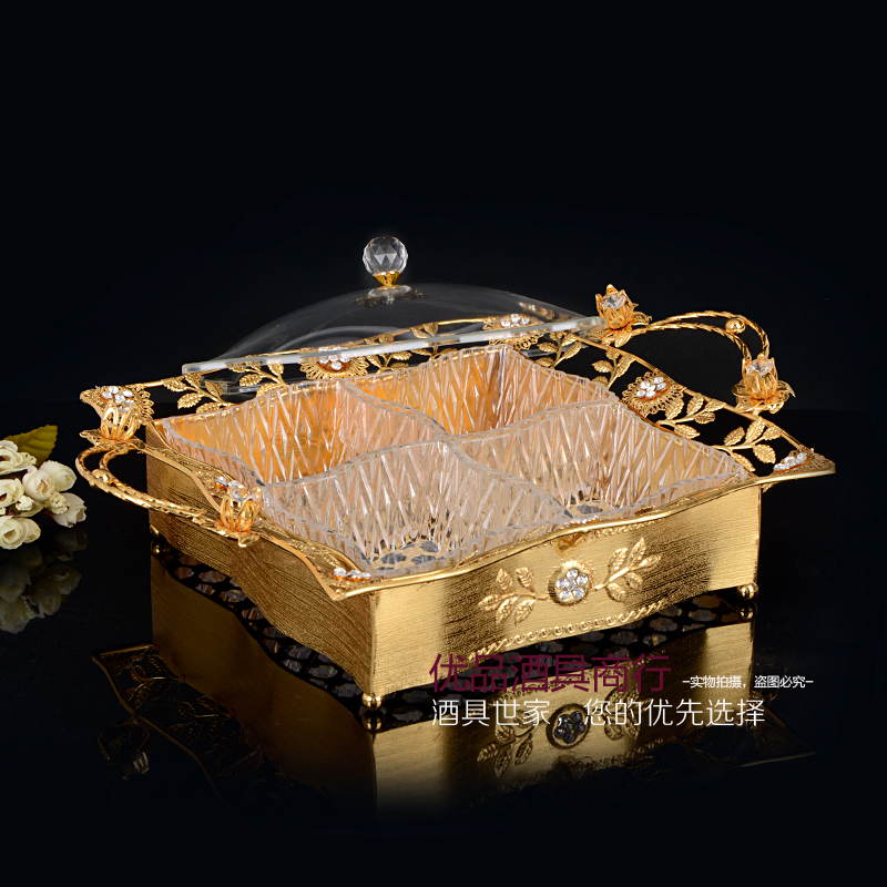 Fashion dried fruit box with cover gold/silver nuts snack bowl plates candy storage tray free shipping(China (Mainland))