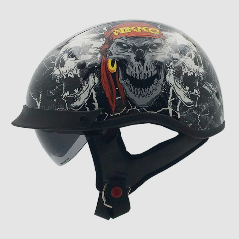 New arrival brand VCOROS vintage half moto helmet Retro scooter helmet Cool skull motorcycle helmet with Internal lens DOT casco(China (Mainland))