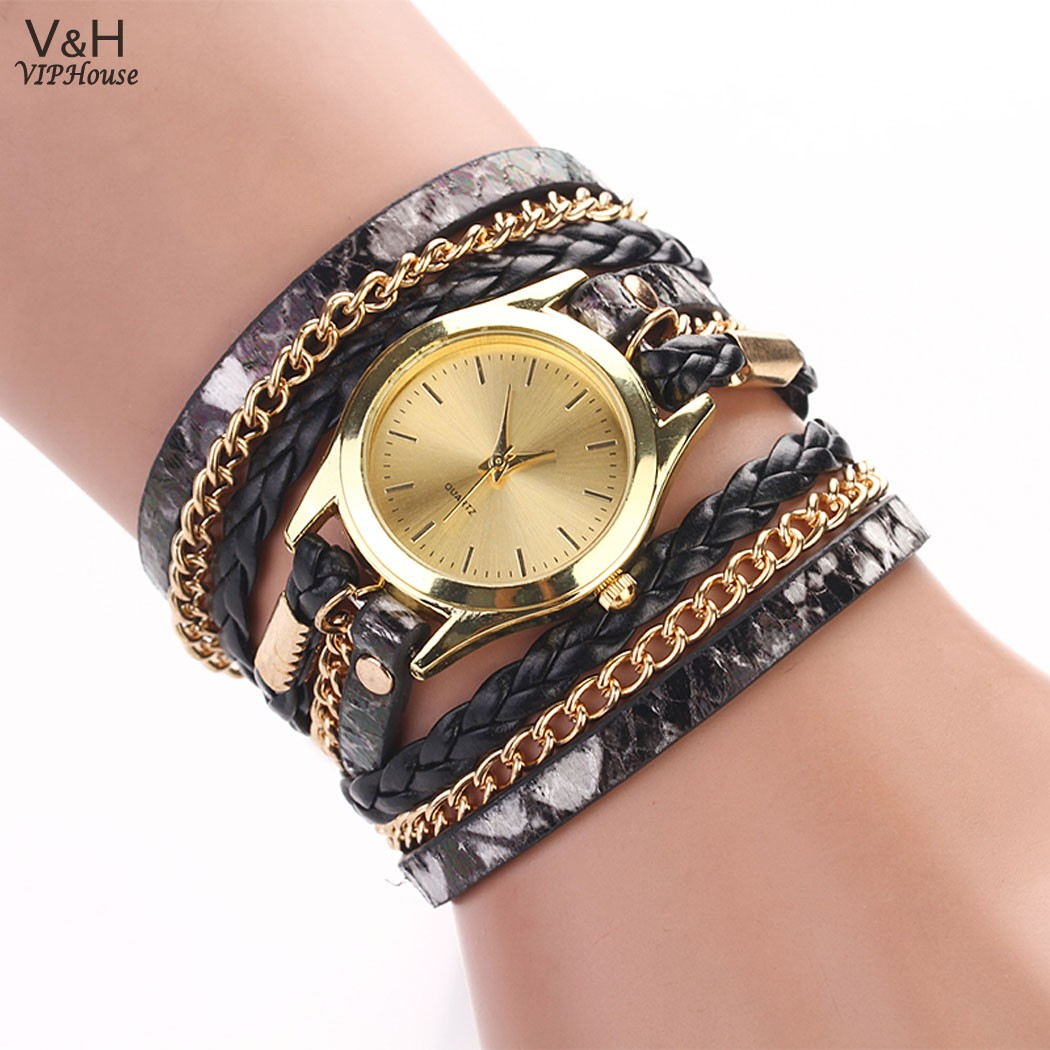 New Fashion Wristwatch Women Dress Watches Retro Chains Leopard Synthetic Leather Strap Bracelet Wrist watch 29(China (Mainland))