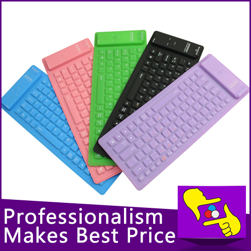 10pcs/lot very convinient 84keys folding Waterproof Flexible Soft Silicone wireless bluetooth 2.4G Keyboard for tablet PC(China (Mainland))
