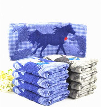 2 pieces Yarn-dyed 100% cotton satin blue gray two color Towel 34*76cm 100g Running horse(China (Mainland))