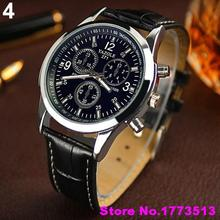 Unisex Military Business Stainless Steel Case Faux Leather Analog Quartz WatchPopular Product 4KP8
