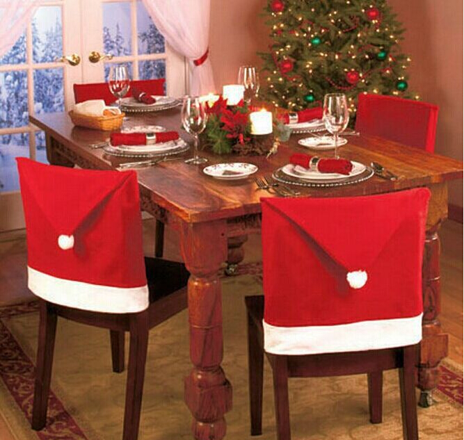 100% 2015 New Fashion Santa Clause Red Hat Chair Back Cover Christmas Dinner Table Party Decor - Leather Clothes center store
