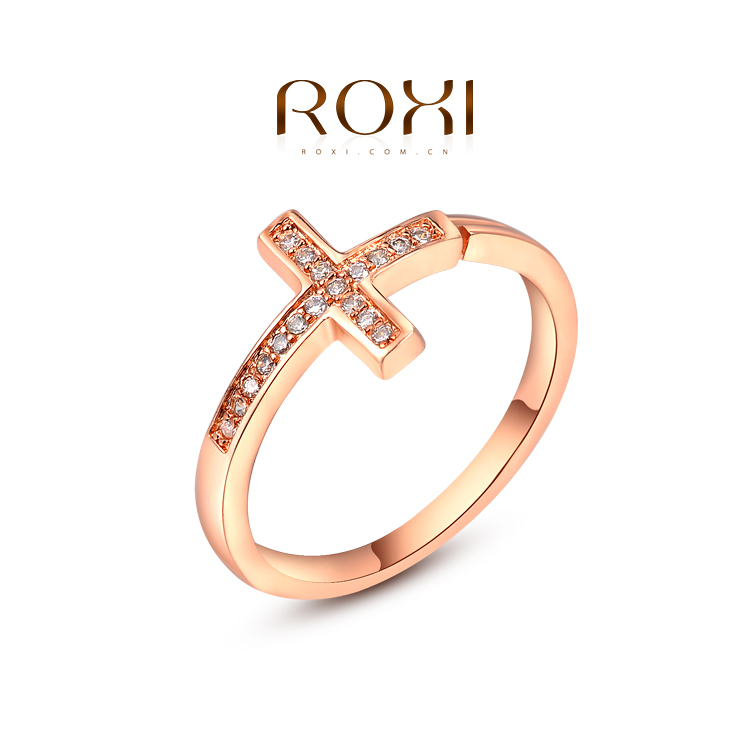 1PCS Free  Shipping! Rose Gold Plated Fashion Opening Cross Ring with Zircon Crystal Female Jewelry(China (Mainland))