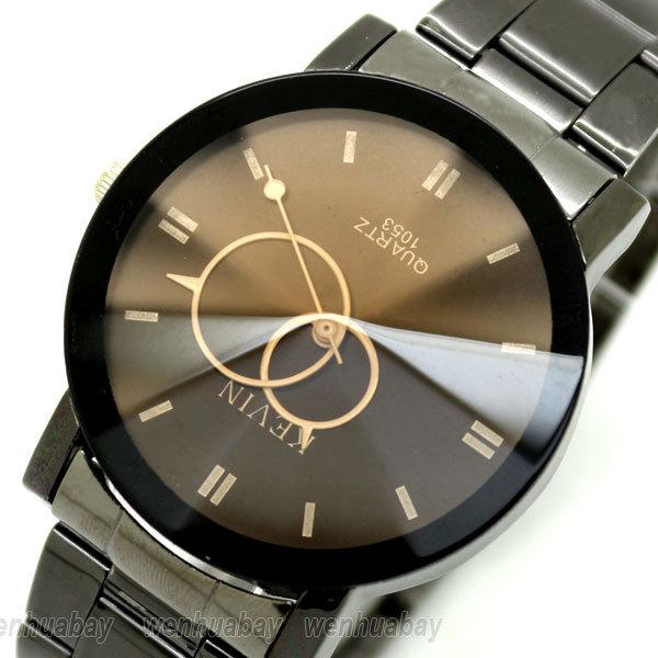 2015 Fashion Brown Black Two Circles Stainless Steel Kevin Quartz Wrist Watch Men Gift orologio da