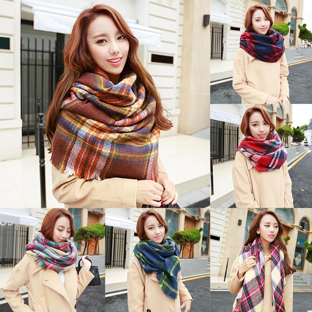 Lady Women Blanket Oversized font b Tartan b font Scarf Wrap Shawl Free Shipping