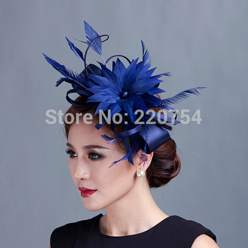 2015 woman champagne ribbon Bow Fascinators sinamay and wedding feather fascinator hats 7colors(China (Mainland))