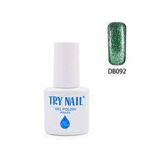 TRY NAIL Three Steps Nail Gel Varnishes Polish Glitter Green Glitter Color Special Nail Art UV LED Gel Nail Polish(DB081~DB100)(China (Mainland))