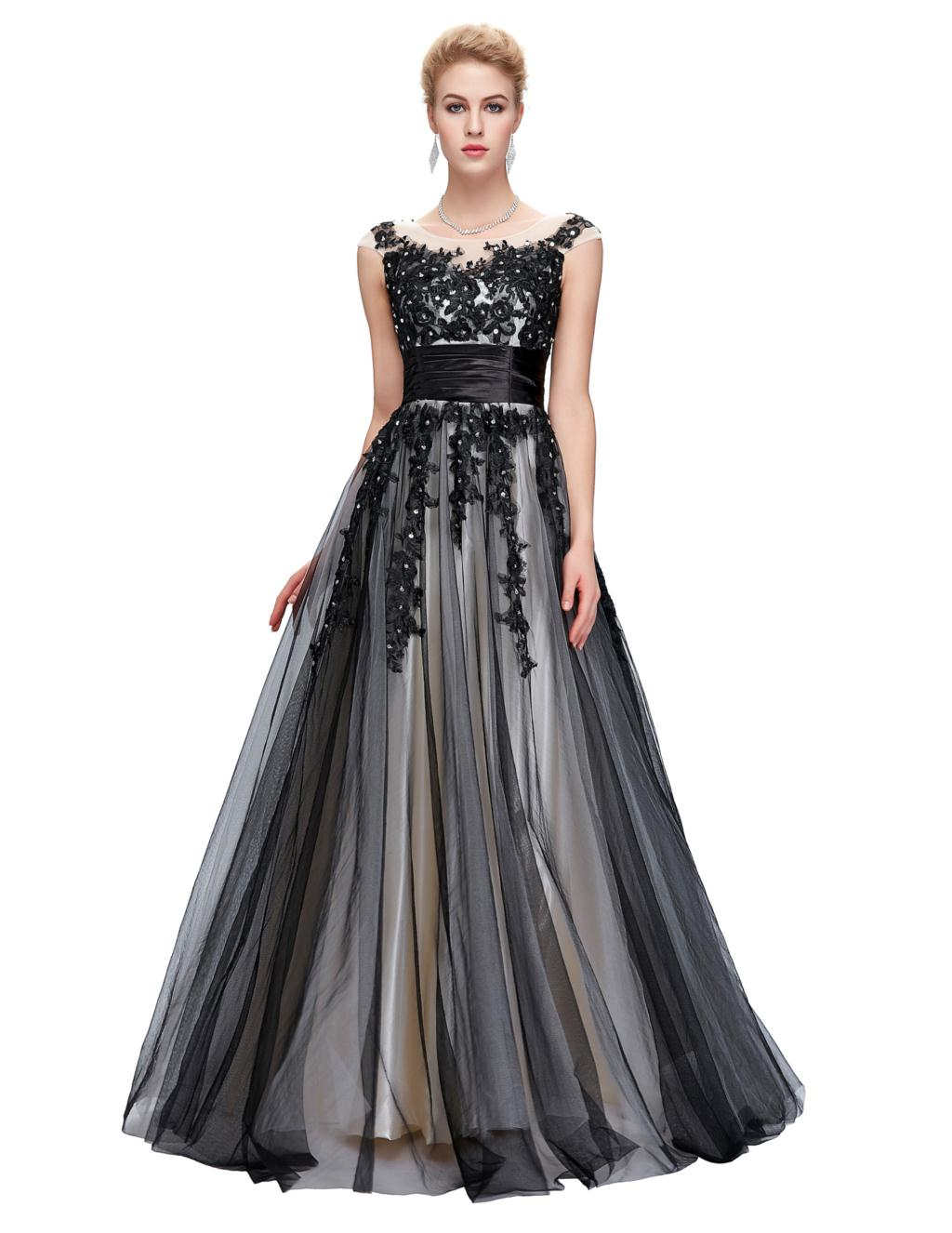 Grace Karin Sexy Black Long Evening Dress 2016 Applique Mother Bride Dresses Party Formal Robe De Soiree GK61 - Co. Limited store
