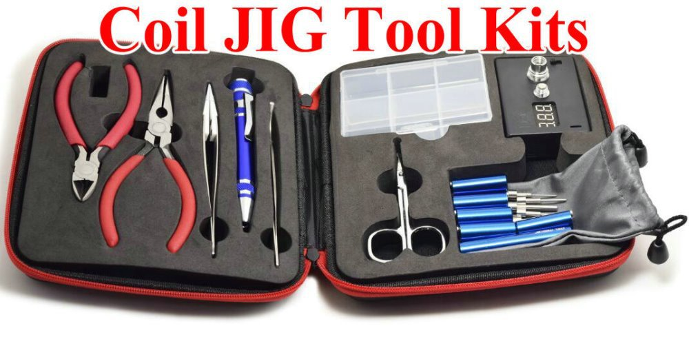 Coil JIG Tool Kit winder ceramic tweezer coil jig kit RDA atomizer wick wire DIY coil jig treezer ohm meter for kanthal a1(China (Mainland))