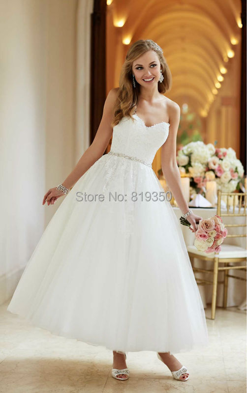 Short lace white wedding dresses 2015 cheap with applique for White short wedding dresses cheap