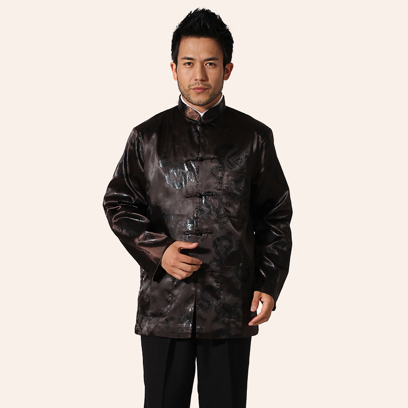 Coffee Spring Autumn Mens Long sleeve Jacket Coat Chinese Style Tang Clothing hombre chaqueta Size M L XL XXL XXXL MN027Одежда и ак�е��уары<br><br><br>Aliexpress