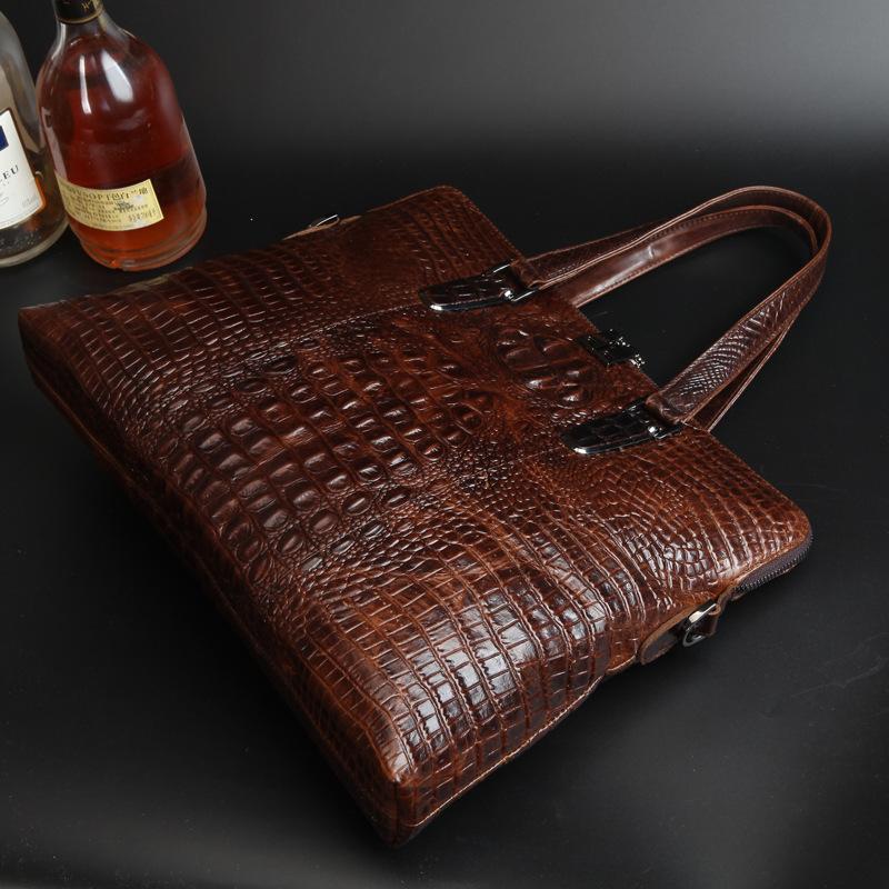 Fashion Alligator Genuine Cow Leather Shoulder Bags Briefcase Men Tote Messenger Bag High Quality Business Shoulder Bags(China (Mainland))