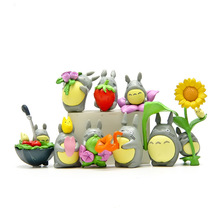 Cute Mr.Froger totoro decorations holding Toy 9 pcs/set Hayao Miyazaki Totoro Cartoon Anime Model Toy doll Excellent Gift
