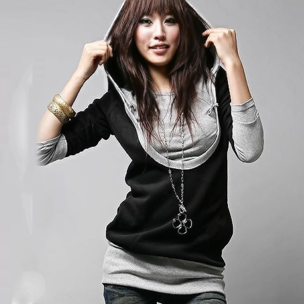 New 2015 Autumn Fashion Women Lady False Two Piece T Shirts Long Sleeve Tops Tees, Black+Gray, M, L, XL(China (Mainland))