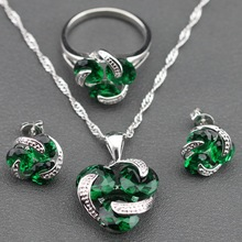 925 Sterling Silver Simple Flower Green Emerald Jewelry Sets Earrings/Pendant/Necklace/Ring For Women Free Gift TZ59(China (Mainland))