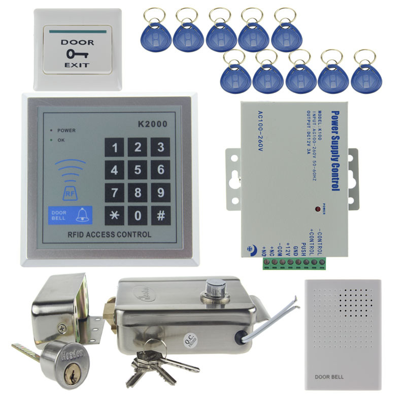 door access control system kit steel electronic lock rfid password keypad door bell power. Black Bedroom Furniture Sets. Home Design Ideas