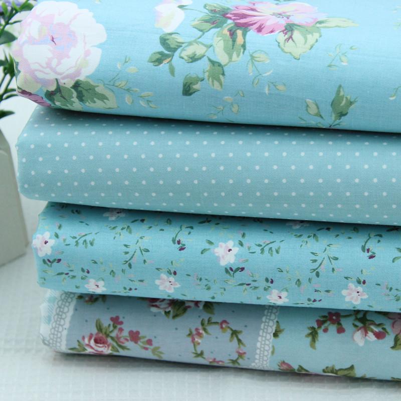 Handmade diy 100% cotton cloth fabric light blue stripe slanting polka dot curtain table cloth pillow bedding(China (Mainland))