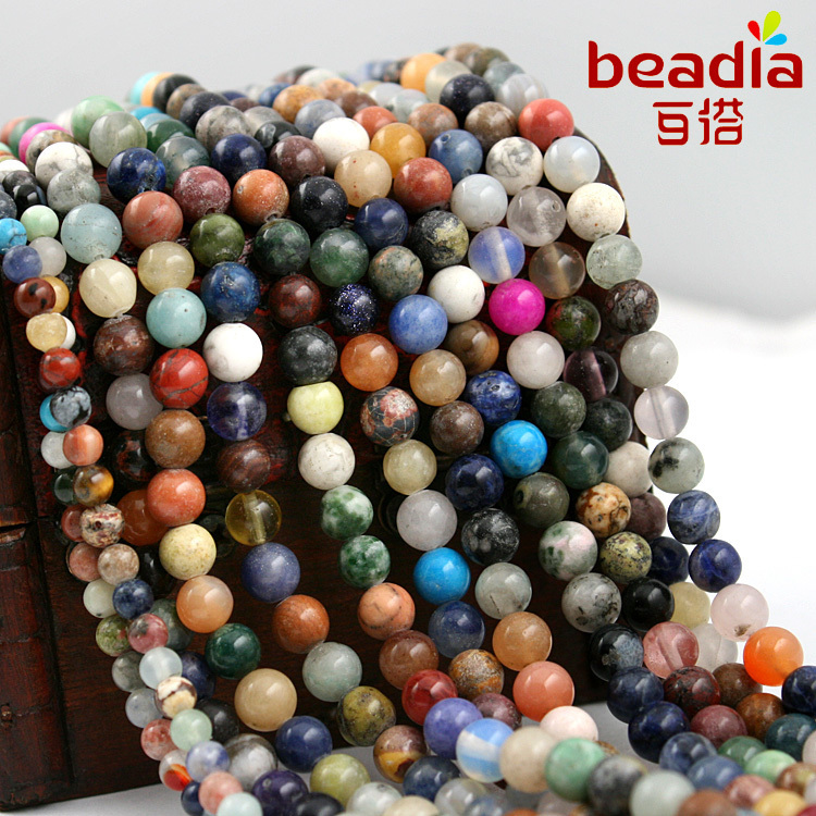Free Shipping 4mm 6mm Mix Colors Loose Semi Precious Natural Round Shape Jasper Beads fit for Necklace & DIY Jewelry(China (Mainland))