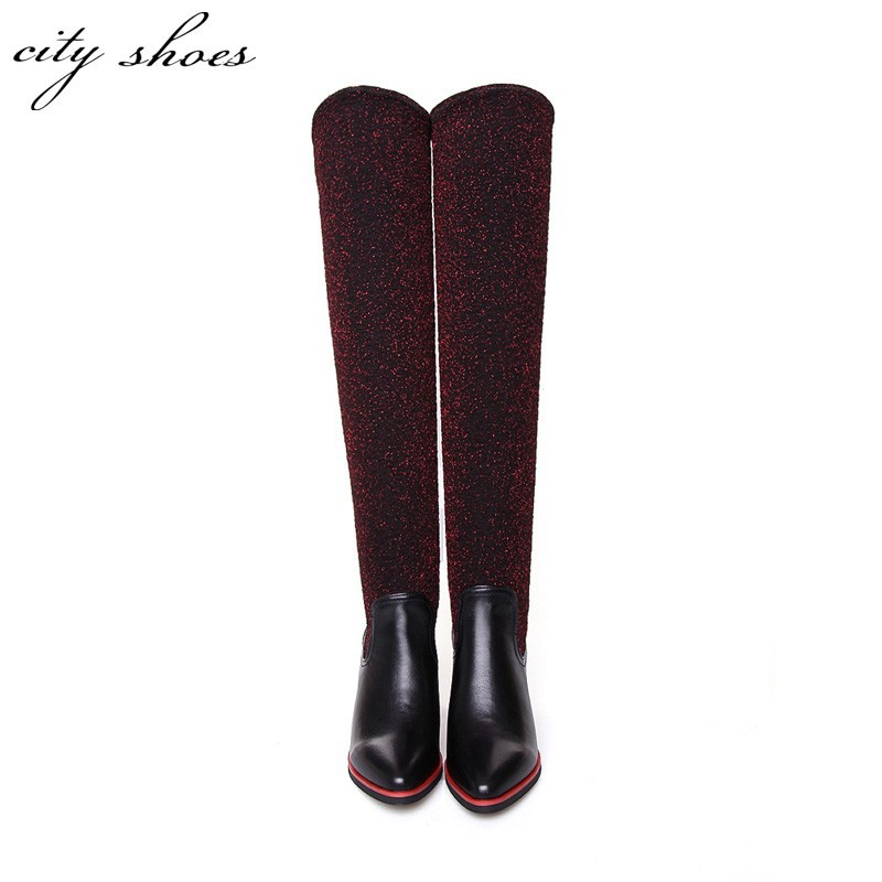 2015 New Winter Women Over Knee Black Boots Fashion Ladies Square