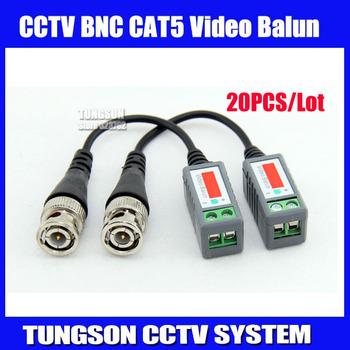 20pcs lot Twisted BNC Video Balun Passive Transceivers UTP Balun BNC Cat5 CCTV UTP Video Balun up to 3000ft Range