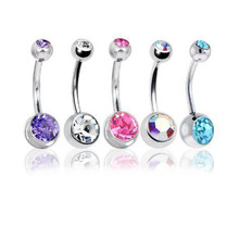 5 Pc/Lot 14G Unisexe Femmes Hommes Mix Corps Bijoux Piercing Cristal Double Gem Belly Bar Nombril Anneau(China (Mainland))