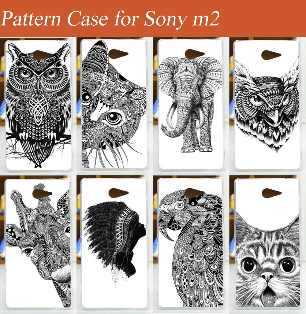 diy painted white and black animals Case Cover FOR Xperia M2 S50h / 10 patterns colored Cover Case for Sony Xperia M2(China (Mainland))
