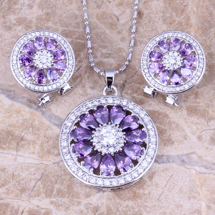 Resplendent Purple Amethyst White Topaz 925 Sterling Silver Overlay Earrings Pendant Necklace Fashion Jewelry Sets S0773<br><br>Aliexpress