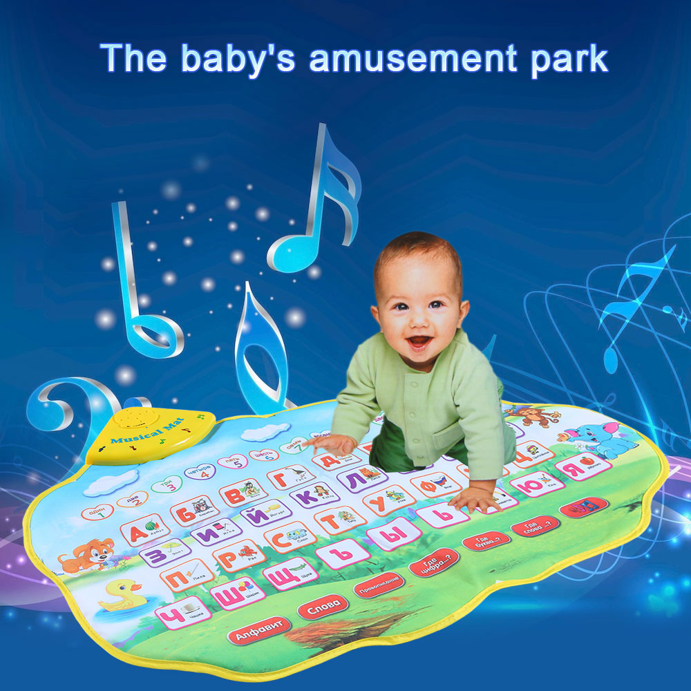 Educational Play Mat Russian Alphabet Music Animal Sounds Learning Baby Toys Play Mat Carpet Gift Children Kids Toys 73 * 49CM(China (Mainland))