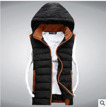 Hot Sale Stars Loves Brand New Arrival Slim Man Vest 2015 Autumn Winters Hooded Cotton Padded Men's Vests 4 Colors 5 Size(China (Mainland))