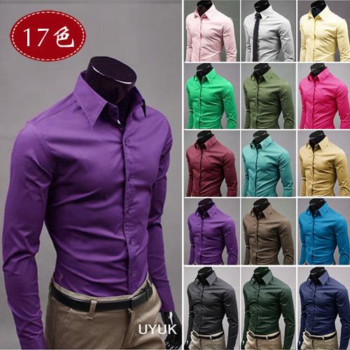 2015 Boss Man's long sleeve shirt explosions Korean men's solid color shirts slim shirt 034(China (Mainland))