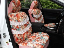 2016 new arrival 5 pcs / set four season women car seat cover cushion girls lace lovely cartoon car seat covers female style(China (Mainland))