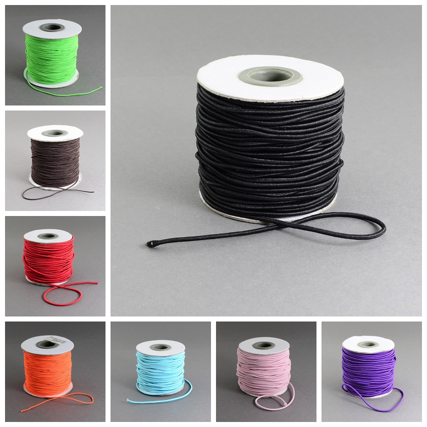 2mm; 40m/roll Round Elastic Cord Thread for Jewelry Making Findings, with Nylon Outside and Rubber Inside, Black Pink White Red(China (Mainland))