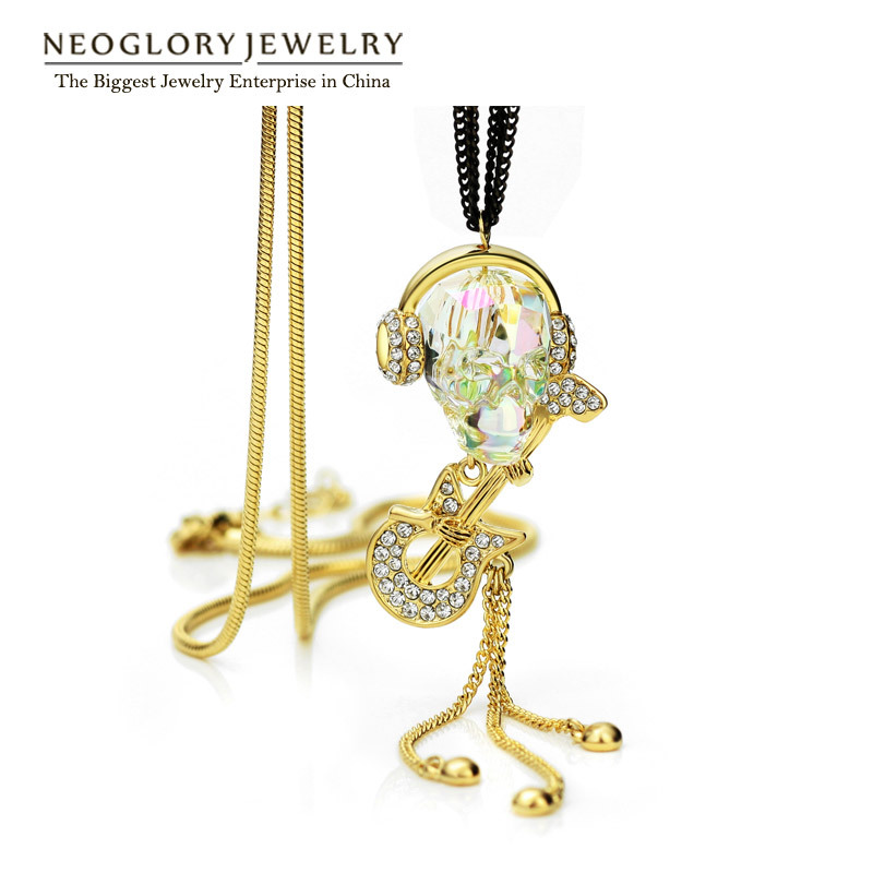 Neoglory Rose Gold Plated MADE WITH SWAROVSKI ELEMENTS CRYSTAL & RHINESTONE Fashion Long Pendants Necklaces for Women 2015 New