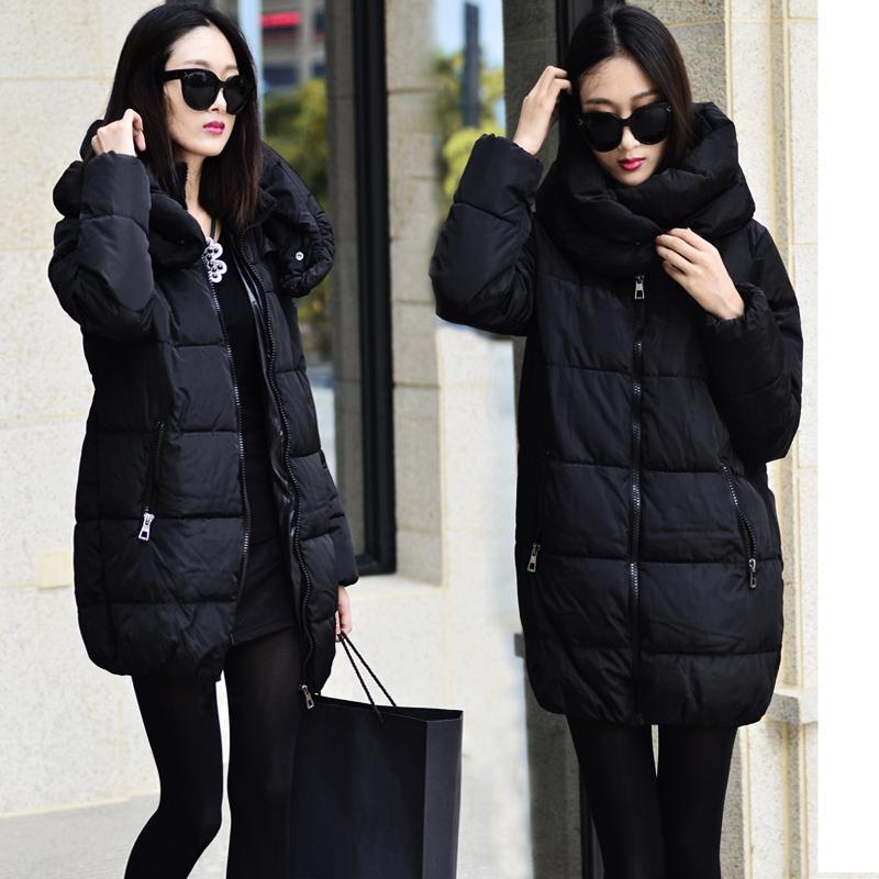 New women winter jacket loose feather padded thick warm coat Long plus size Jacket Girls parka WT502