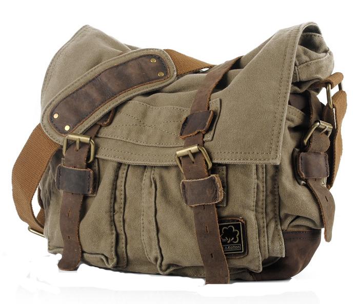 Men Vintage Style Canvas Leather Satchel School Military Shoulder Messenger Bag Fit for 17 inch Laptop Large Size(China (Mainland))