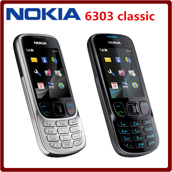 Original Unlock Nokia 6303C Mobile Phone black and silver color Support Russian or Arabic keyborad Good quality !(China (Mainland))