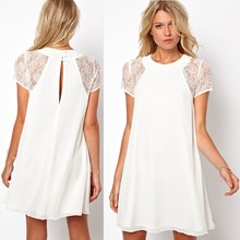 summer dress 2016 new Fashion vestidos women dress Hot lace stitching chiffon short sleeve mini dress vestido de festa 15P024(China (Mainland))