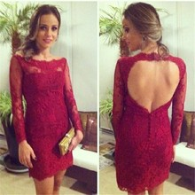 Vestidos De Coctel Sheath Short Open Back Scoop With Long Sleeves Lace Cocktail Dresses For Women Wedding Party Robe De Cocktail