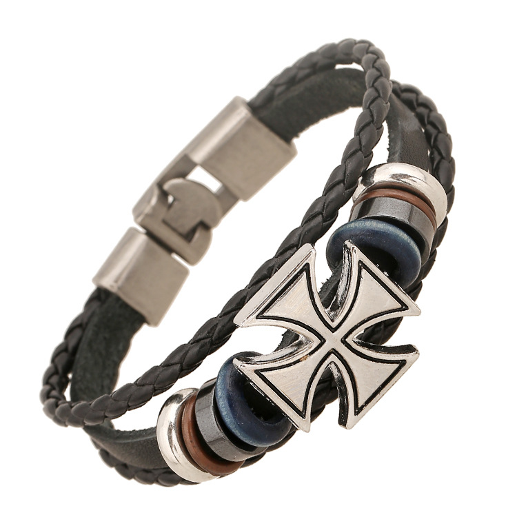 Sell Well Fashion Classic Cross Mens Bracelets Braided Leather Chain Bracelet Jewelry Black Charm Bangle For Men Christmas Gift(China (Mainland))