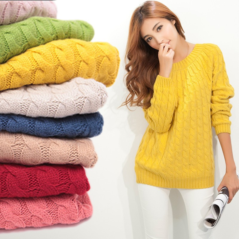 9 Colours Women Sweater Pullovers Fashion Casual Long Sleeve O-neck Twist Knitted Christmas Sweter Casacos Femininos(China (Mainland))