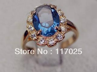 Italina brand 1PC new 18 k rose gold plated luxurious blue green Austrian crystal gem zircon ring women - jam wu 's store
