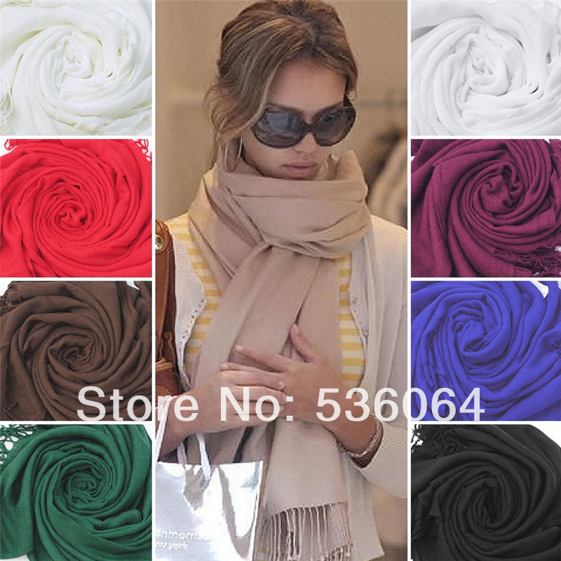 Womens Trendy Wrap Scarf Wool Blends Soft Warm Long Large Shawl Tassels(China (Mainland))